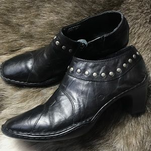 Josef Seibel Leather Ankle Booties Size 39 Black